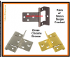 1-10 Pair Single CRANKED flush HINGES. 50mm x 16mm BRASSED/CHROME/BRONZE. Cabinet/Caravan/Motorhome 50mm